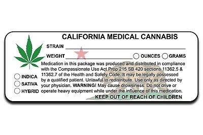 Ca California Marijuana Cannabis Compliant Packaging Label 10 100 200 500 1000