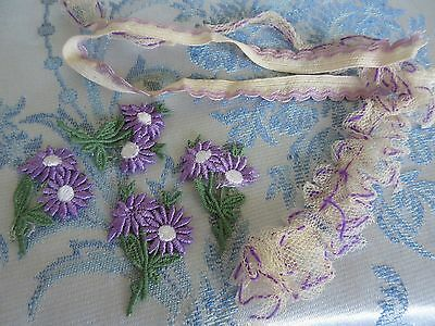 Antique Ruffled Lace Trim Edging VTG Applique Flower Lot French Doll Dress Lilac