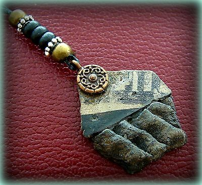 Two Old ANASAZI POTTERY SHARDS made into a PENDANT NECKLACE w/ Beadwork