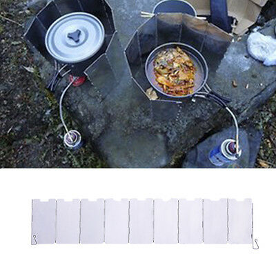 Mini 9 Plates Fold Camping Cooker Gas Stove Wind Shield Screen Foldable Outdoor