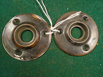 "Matched Set Vintage Japanned Brass Escutcheons - 1 15/16"" Diameter Nice (2768P)"