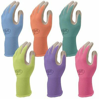 Small Assorted Colors Nitrile Garden Tough Durable Lightweight Gloves 6 Pack