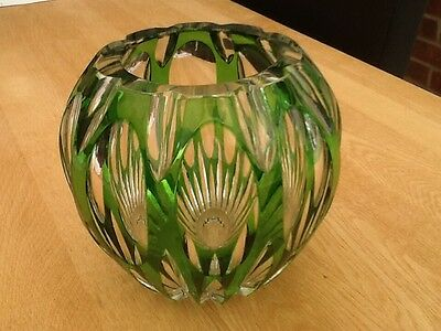 Genuine Vintage Cut Glass Lead Crystal Vase with Emerald Green Overlay
