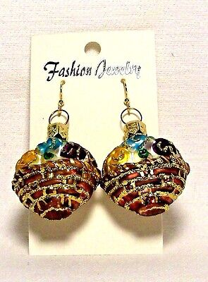 Springtime Fashion Jewelry~Brown Basket~Glass Ornament Earrings/Gift~Poland