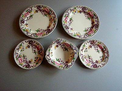 "Vtg 1931: Booths "" Arcadia""  Silicon China   #765991   4  Plates & 1  Bowl  Rare"