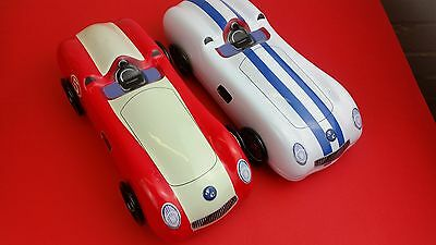 Biscuit / SWEET / Toffee Tin SC 1950's sports / racing car shape Tescos red-whit