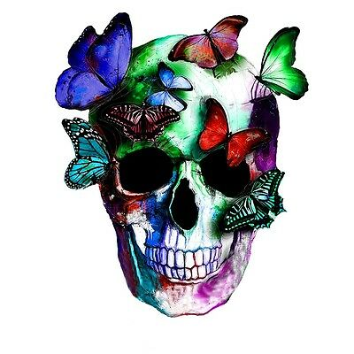 SKULL BUTTERFLIES COLOURFUL ABSTRACT Canvas Box or Poster Print Wall Art