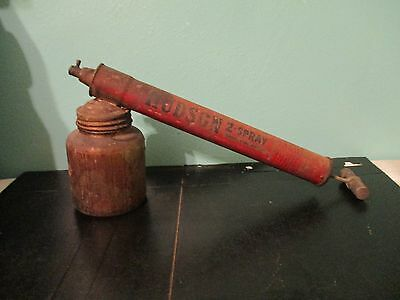 vintage Hudson sprayer AMBER  depression glass jar WOOD handle plunger