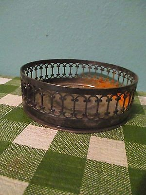 vintage small  filigree round tray made in italy