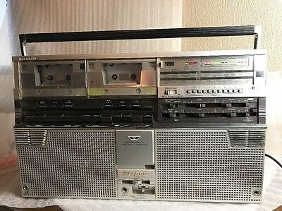 vintage sharp gf555 radio twin cassette deck player getto blaster boombox parts