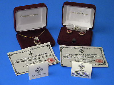 Camrose & Kross Jackie Kennedy Simulated Ruby Earring Pendant Necklace