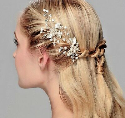 Silver Elegant Bridal Comb With Crystals And Pearls Wedding Hair Accessory