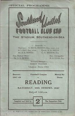 Southend V Reading 30 August 1947