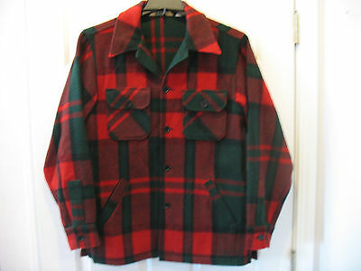 L. L. Bean Men's M Vintage Wool Jacket Buffalo Plaid Red Green Made in USA
