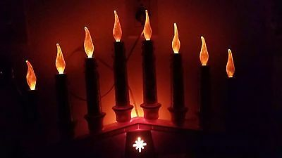 Antique Vintage Christmas Candolier Electric Window Candle Flames Empire 8 Flame