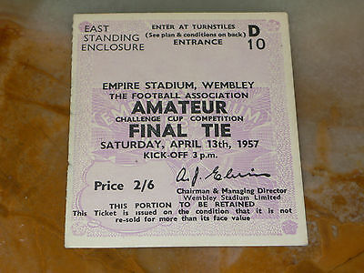 Ticket 1957 Amateur Cup Final - BISHOP AUCKLAND v. WYCOMBE WANDERERS