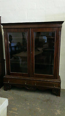 antique  mahogany  display  cabinet  on  stand.