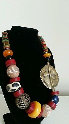 Handmade African Ethnic choker necklace, stone beads with metal unique gift