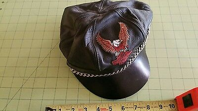 Vintage?  Harley Davidson Leather  Bill Cap with CHAIN  Bckle Strap  Nice shape