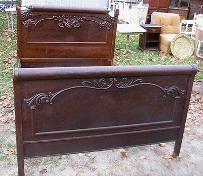 Antique Carved Oak Full-Size Pillow Roll Bed
