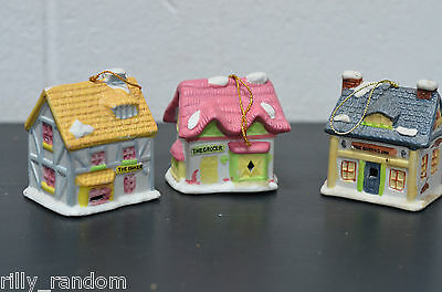 3 Vintage Christmas Theme Cottage Bell Ornaments Baker Grocer and Queens Inn
