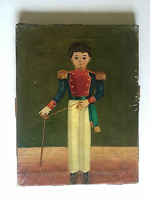 Agapito Labios Listed Mexican Artist Vintage Folk Painting Little Boy W/ Sword