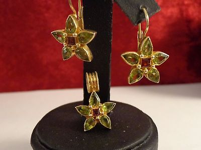 Yellow Gold Color / Sterling Silver Peridot Flower Pendant & Leverback Earrings