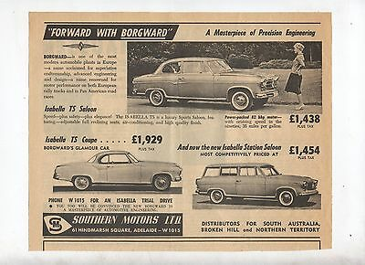 Borgward Isabella TS Original Advertisement removed from a 1960 Magazine