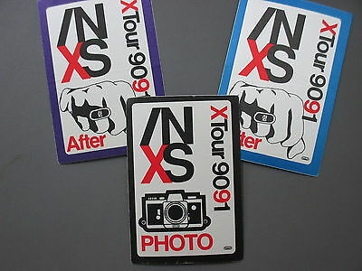 INXS satin cloth backstage passes 3 AUTHENTIC 1990/91 PHOTO & AFTER !