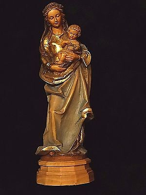 """Catholic Wood carved holy statue of Madonna Mother Mary & Jesus by Anri 11.0"""""""
