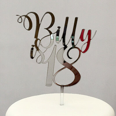 Personalised Birthday Cake Topper with Name and Age - Any name, many colours