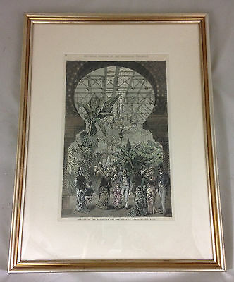 1876 Centennial Exposition Horticultural Hall Hand-Tinted Wood Engraving Framed