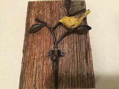 "Hand Crafted Cast Iron Bird Hook On Weathered Barn Wood! 7 1/4"" X 5 1/4"""