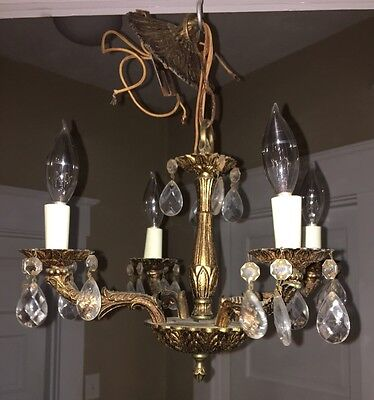 Antique Shabby Chic French Brass Mini Crystal Prism Chandelier