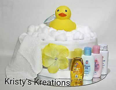 Large Single Tier Nappy Cake with Rubber Duck Boy Girl Unisex Baby Shower Gift