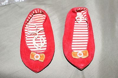 Chatty Cathy Red Velvet Shoes Slippers Striped Lining