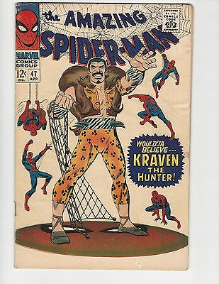 THE AMAZING SPIDER-MAN #47 VOL. 1 1967 SILVER AGE VG 4.0 - vs KRAVEN THE HUNTER