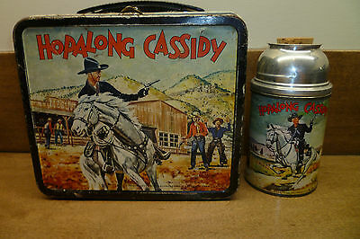 1954 Hopalong Cassidy Lunchbox And Canadian Version Thermos Aladdin !!