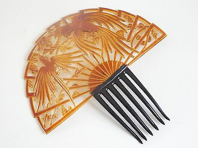 1920s Beautiful Perfect Very Rare Art Deco Celluloid Large Huge Hair Comb Parrot