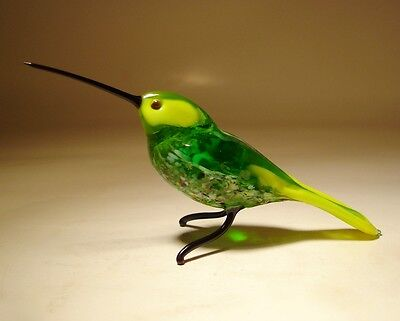 "Blown Glass ""Murano"" Art Green & Yellow HUMMINGBIRD Bird Figurine"