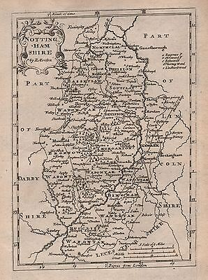 1701 Antique County Map Morden - Nottinghamshire