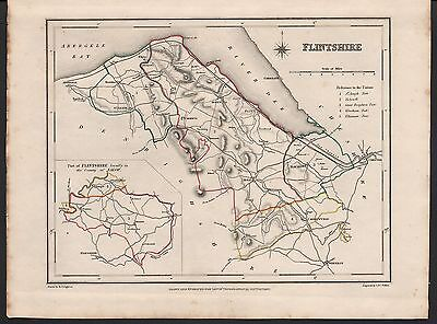 1848 Antique County Map - Wales Flintshire Mold Caerwys Holywell St Asaph