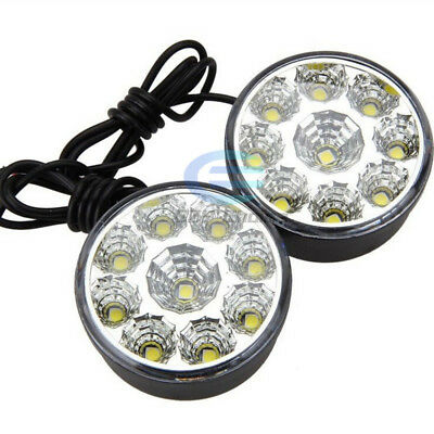 2X Bright 9 LED Round DRL Light Driving Running Daytime Car Fog Head Lights Lamp