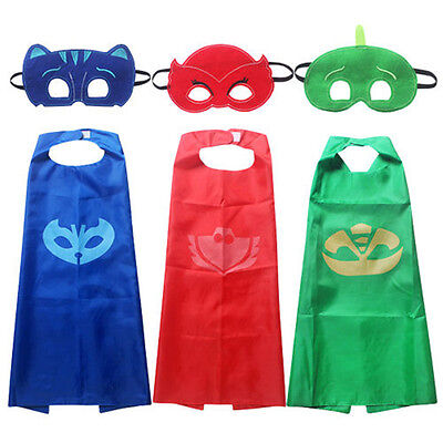 Superhero PJ Masks Cape Mask Set Owlette Catboy Cosplay Kids Costume Party NEW