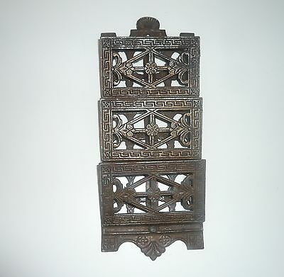 ANTIQUE 3 TIER BUSINESS CARD HOLDER WALL HUNG VICTORIAN ERA c1900s
