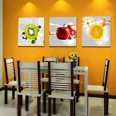 3pcs Kitchen Dining Room Wall Hanging Art Painting Picture Fruits Print Decor
