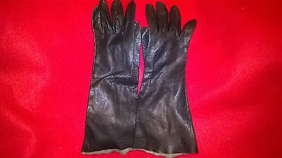 Vintage French Ladies Long Black Leather Gloves