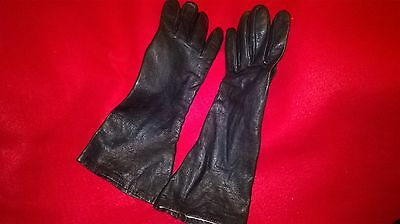 Naturseide Long Black Silk Lined Leather Gloves   - Size Medium/Large