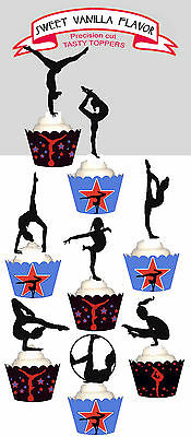 Gymnastics Gymnast Sports Party 15 EDIBLE cupcake cake Toppers PRE-CUT Cup Cake