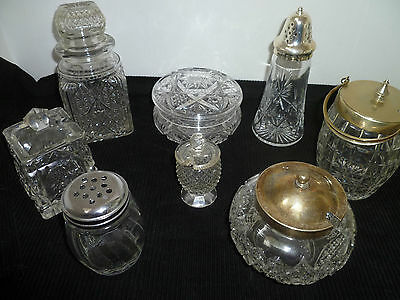 Collection Of 8 X Glass Various Condiment Pots  With Lids